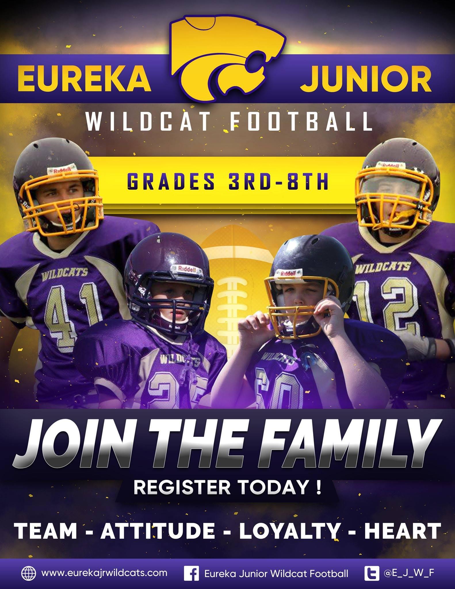 Eureka Junior Wildcat Football Logo